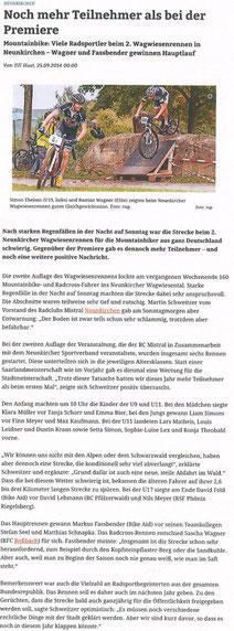 Saarbrückerzeitung vom 25.09.2014