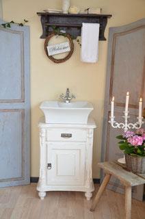Waschtischunterschrank Shabby-Chic in weiß