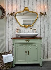 Waschtisch in Pastellgrün