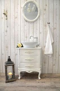 Zierlicher Gäste-Waschtisch in weiß