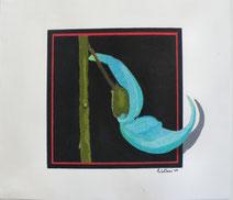 Dessin crayons de couleur fleur de jade turquoise