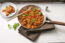 Geprüfte IN FORM-Rezepte, IN FORM, DGE, vegetarisch, vegetarisch kochen, vegetarisch essen, vegetarisches Essen, vegetarisches Rezept, vegetarische Küche, gesunde Ernährung, Ernährung, Gesundheit, Paprika-Reis-Pfanne, Gemüsepfanne, Paprika, Reis, Gemüse