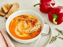 Geprüfte IN FORM-Rezepte, IN FORM, gesunde Rezepte, gesunde Ernährung, gesundes Essen, gesund essen, gesund abnehmen, abnehmen, gesund kochen, DGE, Deutsche Gesellschaft für Ernährung, Rezept, Kochrezept, kochen, Paprikasuppe, Paprika, Suppe, Suppenrezept