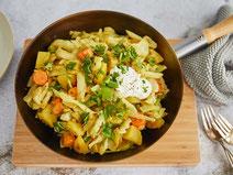 Geprüfte IN FORM-Rezepte, IN FORM, DGE, vegetarisch, vegetarisch kochen, vegetarisch essen, vegetarisches Essen, vegetarisches Rezept, vegetarische Küche, gesunde Ernährung, Ernährung,, Spitzkohlpfanne, Spitzkohl, Gemüse, Gemüsepfanne, veggie