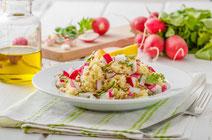 Geprüfte IN FORM-Rezepte, IN FORM, DGE, vegan, veganes Rezept, vegan kochen, vegane Ernährung, vegan essen, gesunde Ernährung, Ernährung, Gesundheit, Couscoussalat, Couscous, Salat, veganer Salat, veganer Couscoussalat, veganes Salatrezept, Frühlingssalat