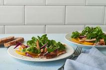 Geprüfte IN FORM-Rezepte, IN FORM, gesunde Rezepte, gesunde Ernährung, gesundes Essen, gesund essen, gesund abnehmen, abnehmen, gesund kochen, DGE, Deutsche Gesellschaft für Ernährung, Rezept, Kochrezept, kochen, Feldsalat mit Mango, Feldsalat, Salat