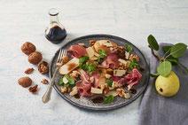 Geprüfte IN FORM-Rezepte, IN FORM, Blitzrezept, schnelles Rezept, einfaches Rezept, schnelle Zubereitung, schnell kochen, gesunde Ernährung, gesundes Essen, gesund essen, gesundes Rezept, Birnen-Carpaccio, Birnen, Carpaccio, Vorspeise, schnelle Vorspeise