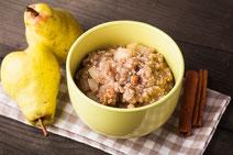 Geprüfte IN FORM-Rezepte, IN FORM, Blitzrezept, schnelles Rezept, einfaches Rezept, schnelle Zubereitung, schnell kochen, gesunde Ernährung, gesundes Essen, gesund essen, gesundes Rezept, Birnen-Porridge, Birnen, Porridge, Haferflocken, gesundes Frühstück