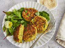 Geprüfte IN FORM-Rezepte, IN FORM, DGE, vegetarisch, vegetarisch kochen, vegetarisch essen, vegetarisches Essen, vegetarisches Rezept, vegetarische Küche, gesunde Ernährung, Ernährung, Gesundheit, Quinoa-Bratlinge, Quinoa, Bratlinge, Rezept für Bratlinge
