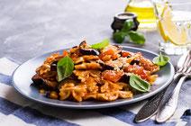 Geprüfte IN FORM-Rezepte, IN FORM, DGE, vegetarisch, vegetarisch kochen, vegetarisch essen, vegetarisches Essen, vegetarisches Rezept, vegetarische Küche, gesunde Ernährung, Ernährung, Gesundheit, Balsamico, Aubergine, Pasta, Pasta-Rezept