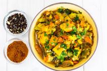 Geprüfte IN FORM-Rezepte, IN FORM, DGE, vegan, veganes Rezept, vegan kochen, vegane Ernährung, vegan essen, gesunde Ernährung, Ernährung, Gesundheit, Möhren, Aprikosen, veganes Curry, Curry-Rezept, veganes Mittagessen, veganes Abendessen