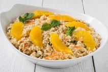 Geprüfte IN FORM-Rezepte, IN FORM, DGE, vegan, veganes Rezept, vegan kochen, vegane Ernährung, vegan essen, gesunde Ernährung, Ernährung, Gesundheit, Couscous, Orangen, Möhren, veganes Mittagessen, veganes Abendessen, vegan kochen, vegan essen