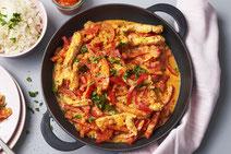 Putengeschnetzeltes mit Paprika, Putengeschnetzeltes, Putenfleisch, Geflügel, Geflügelfleisch, Putenfleisch zubereiten, Putenfleisch Zubereitung, Putenfleisch kochen, Rezept mit Pute, Rezept mit Geflügel, Rezept mit Fleisch, gesundes Essen