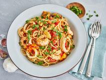 Spaghetti Frutti di Mare, Spaghetti, Pasta, Nudeln, Meeresfrüchte, Pasta mit Meeresfrüchten, Pasta mit Garnelen, Spaghetti mit Meeresfrüchten, Spaghetti mit Garnelen, Pasta-Rezept, italienisch, italienische Küche, Rezept, Kochrezept, gesunde Rezepte