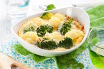 Geprüfte IN FORM-Rezepte, IN FORM, DGE, vegetarisch, vegetarisch kochen, vegetarisch essen, vegetarisches Essen, vegetarisches Rezept, vegetarische Küche, gesunde Ernährung, Ernährung, Gesundheit, Nudelgratin, Blumenkohl, Brokkoli, Gratin, Pasta