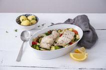 Geprüfte IN FORM-Rezepte, IN FORM, gesunde Rezepte, gesunde Ernährung, gesundes Essen, gesund essen, gesund abnehmen, abnehmen, gesund kochen, DGE, Deutsche Gesellschaft für Ernährung, Rezept, Kochrezept, kochen, Fisch-Auflauf, Auflauf, Fisch