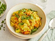 Geprüfte IN FORM-Rezepte, IN FORM, DGE, vegan, veganes Rezept, vegan kochen, vegane Ernährung, vegan essen, gesunde Ernährung, Ernährung, Gesundheit, Spitzkohlcurry, Spitzkohl, Curry, veganes Curry, Curryrezept, Rezept für Curry, Rezept für veganes Curry