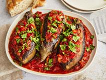Geprüfte IN FORM-Rezepte, IN FORM, DGE, vegetarisch, vegetarisch kochen, vegetarisch essen, vegetarisches Essen, vegetarisches Rezept, vegetarische Küche, gesunde Ernährung, Ernährung, Gesundheit, Imam Bayildi, türkische Küche, gefüllte Auberginen, Gemüse