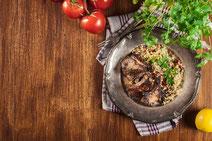 Geprüfte IN FORM-Rezepte, IN FORM, gesunde Rezepte, gesunde Ernährung, gesundes Essen, gesund essen, gesund abnehmen, abnehmen, gesund kochen, DGE, Deutsche Gesellschaft für Ernährung, Rezept, Kochrezept, kochen, Lammfilet, Lammfleisch, Lamm, Bulgur