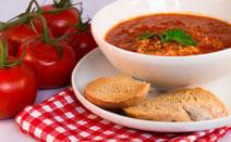 Geprüfte IN FORM-Rezepte, IN FORM, gesunde Rezepte, gesunde Ernährung, gesundes Essen, gesund essen, gesund abnehmen, abnehmen, gesund kochen, DGE, Deutsche Gesellschaft für Ernährung, Rezept, Kochrezept, kochen, Tomaten, Suppe, Tomatensuppe, Couscous