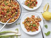 Geprüfte IN FORM-Rezepte, IN FORM, gesunde Rezepte, gesunde Ernährung, gesundes Essen, gesund essen, gesund abnehmen, abnehmen, gesund kochen, DGE, Deutsche Gesellschaft für Ernährung, Rezept, Bulgur, Salat, Bulgursalat, veganer Bulgursalat, veganer Salat