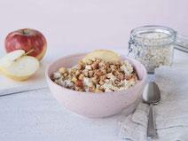 Geprüfte IN FORM-Rezepte, IN FORM, Blitzrezept, schnelles Rezept, einfaches Rezept, schnelle Zubereitung, schnell kochen, gesunde Ernährung, gesundes Essen, gesund essen, gesundes Rezept, Apfel-Zimt-Porridge, Porridge, Haferflocken, Obst, Frühstück