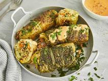Geprüfte IN FORM-Rezepte, IN FORM, DGE, vegetarisch, vegetarisch kochen, vegetarisch essen, vegetarisches Essen, vegetarisches Rezept, vegetarische Küche, gesunde Ernährung, Ernährung, Gesundheit, vegetarische Wirsingrouladen, Wirsing, Rouladen