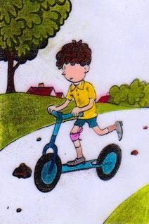 """Siužetiniai paveikslėliai """"Berniukas ir dviratukas"""""""