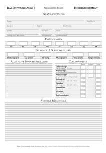 DSA 5 Heldenbogen Charakterbogen Download