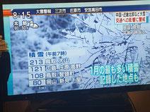 今朝のNHKTVのニュース画面。「80cm岡山新見千屋 1月の最も多い積雪記録した地点も」