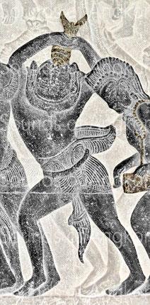 5. Conque à usage militaire soufflée vers le haut. Angkor Vat, Bataille de Kurukshetra. XIIe s.