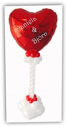 Ballon Luftballon Ständer Dekoration Deko Hochzeit Eingang Herzen Ballonständer elegant modern personalisiert mit Namen Brautpaar Folienherz