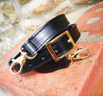 tracolla per borsa in cuoio nero