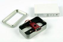 LED Taschenlampe in Geschenkboxen verpackt Logo mit Lasergravur aufgebracht von biasto laserdesign