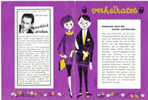 """Junges Paar 1960er Jahre.Sparkassenwerbung: Prospekt """"Familiendarlehen"""". Grafik von Heinz Traimer 1962."""