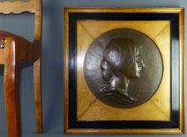 Jugendstil Reliefbild, Bronze, Godfroid Devreese, Ahorn, Passepartout, Ø 43,0 cm , € 1600,00