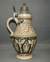 Große Weinkanne Keramik, Historismus, Zinndeckel, 36,5 cm, € 165,00