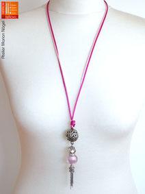 Halskette mit Kugelanhänger rosa silber