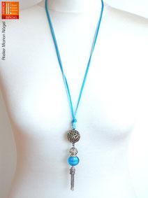 Halskette mit Kugelanhänger türkis silber
