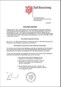 Erteilung der Erlaubnis als Heilpraktiker   - beschränkt auf das Gebiet der Ergotherapie -