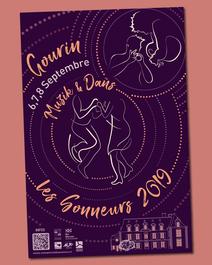 affiche gourin les sonneurs 2019 biniou bombarde graphisme breton bretagne danse fisel dañs tendance