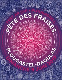 affiche fête des fraises 2019 plougastel-daoulas graphisme motifs bretons ornement mandala participatif travail collectif école st pierre