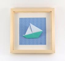 Cadre origami Bateau - Format 20x20cm - 34€