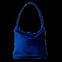 """borsa modello sacca in velluto blu """"Eva"""" by Mariarosaria Ferrara collezione autunno inverno 2021-22"""