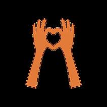 Hände die ein Herz zeigen