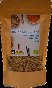 Bio Knabber Hanf Protein Superfood Hanfsamen Knusper Vanille Zimt Sweedbar Snack