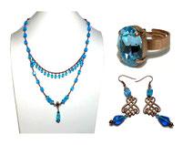 photos bijoux parure collier bague boucles d'oreilles verre bleues cuivrées bohème