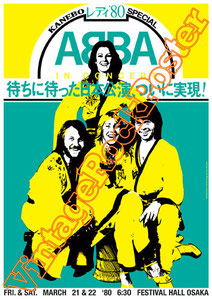 Björn Ulvaeus, Benny Andersson, Agnetha Fältskog,Anni-Frid Lyngstad, abba,festival hall Osaka, japan,mammamia,poster,affiche,cartaz,cartel,karte,vintage rock poster