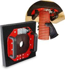 Schlauchdurchführung, Abdichtung bei festen Beplankungen bis 25 mm Beplankungsstärke