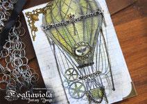 steampunk balloon journal realizzato con materiale di esubero e riciclo